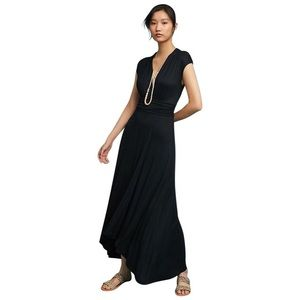 Anthropologie Maeve Black Jersey Maxi Dress